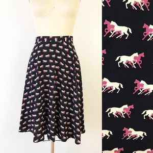 Modcloth Horse Print Navy Pink A Line Skirt S Cute